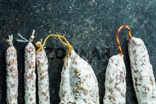 Tasty salami with white mold.