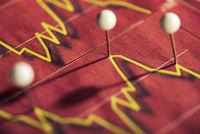 Pinnadeln markieren Aktienkurs