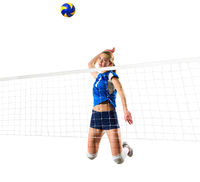 Young woman volleyball player isolated (version with net and ball)