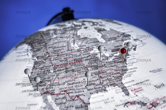 Globus mit den USA im Fokus