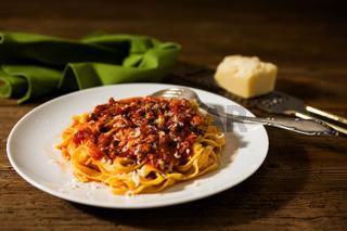 Tagliatelle pasta with bolognese ragu