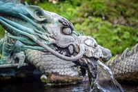 Traditional japanese dragon fountain, Nikko, Japan