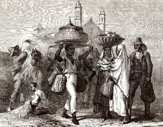 Baker selling bread, Cuba, 19th century