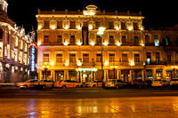 Havana, Cuba - December 13, 2016:  Night view of the Gran Teatro de La Habana (Great Theatre of Havana) and the famous hotel Inglaterra near the Central Park in Havana, Cuba