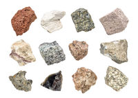 igneous rock geology collection isolated on white