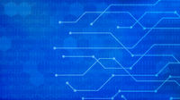 Blue futuristic background with binary code and network