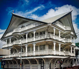 Exterior of house in the historic city of Paramaribo, Suriname.