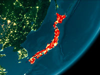 Japan from space at night