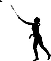 Black silhouette of female badminton player on white background