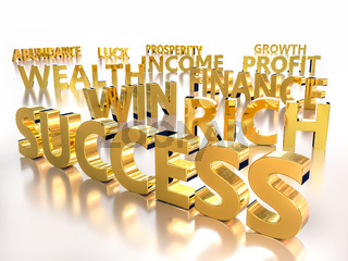 3D rendering of Golden words associated with abundance and prosperity over white background