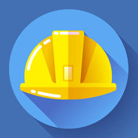 Yellow construction worker helmet icon. Flat design style.