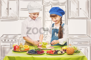 Children making fruit snacks