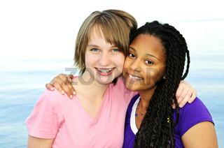 Happy teenage girlfriends
