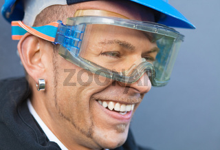 Laughing worker