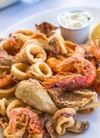 Mixed deep-fried fish, shrimp and squid platter