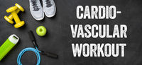 Fitness equipment on a dark background - Cardiovascular Workout