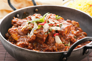 Chichen madras as closeup in stewpot