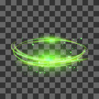 Transparent Light Effect Isolated on Checkered Background. Green Lightning Flafe