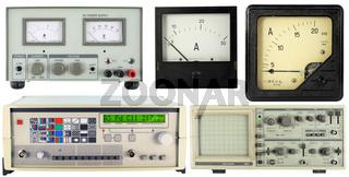 Modern and retro measuring equipment set