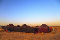Merzouga, Morocco - February 25, 2016: Merzouga desert landscape with its traditional jaima.