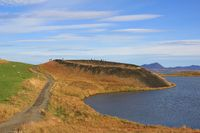 Skutustadagigar, pseudocrater at lake Myvatn, Iceland.