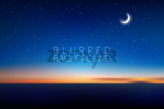 horizontal wide blurred mountain night stars sky background - night colors with moon