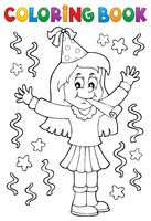Coloring book girl celebrating theme 1