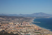 Beach and residential area in Gibraltar in British Overseas Territory