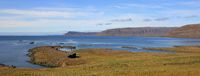 Coastal scene near Floklandur, Iceland. Late summer day at the west fjords.