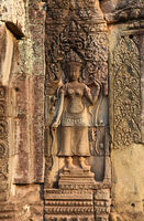 Ancient bas-reliefs on temple in Cambodia
