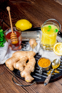 ginger lemonade with honey and lemons