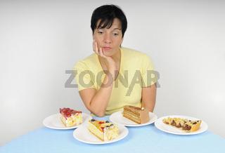 Frau und viel Kuchen - Woman with cake