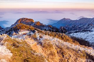 Winter sunrise landscape in Huangshan National park.