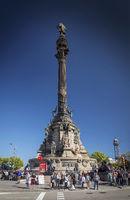 famous columbus monument landmark in central barcelona spain