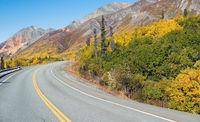 Roadside Sign Marker Indicates Photo Pull Out Ahead Alaska