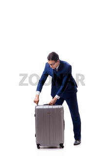 Young businessman with suitcase isolated on white background