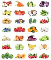Obst und Gemüse Früchte Sammlung Äpfel, Orangen Bananen Erdbeeren Paprika Essen Freisteller