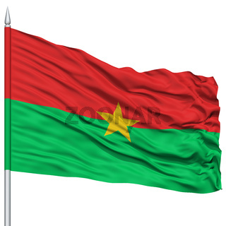 Burkina Flag on Flagpole