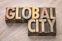 global city word abstract in wood type