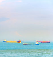 Industrial shiping tankers. Singapore harbour