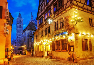 Christmas decoration lights at night in Rothenburg ob der Tauber, Germany