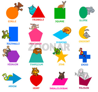 geometric shapes with animal characters set
