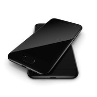 3D rendering black glossy smart phone with black screen