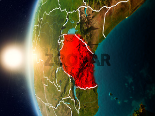Sunset above Tanzania from space