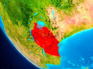 Tanzania on globe from space