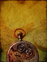 Old used clock on a textured background