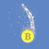 Golden Bitcoin is Falling. Crypto Currency Icon