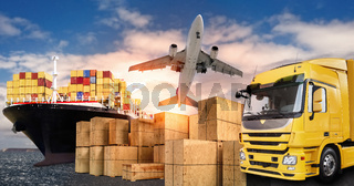 LKW, Flugzeug und Schiff für den Transport von Waren
