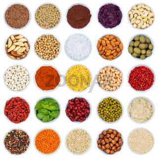 Kräuter und Gewürze Gemüse Sammlung Nüsse Quadrat von oben isoliert freigestellt Freisteller