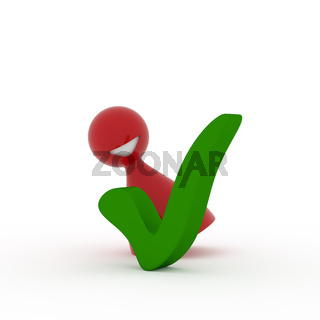 Red character with a green check mark